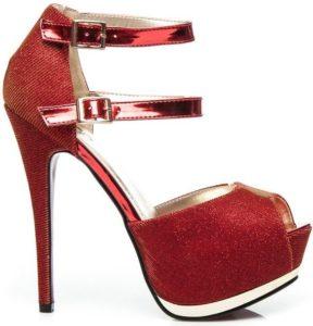 Gogo dámské červené sandály s brokátem na platformě