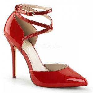Elegantní červené otevřené lodičky s pásky přes kotník na vysokém podpatku