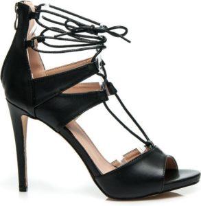 černé sexy sandálky na vysokém podpatku zavazovací