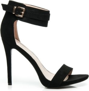 Černé sandálky na jehlovém podpatku