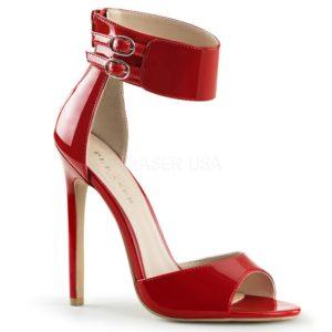 Minimalistické sandály na vysokém podpatku v červeném laku